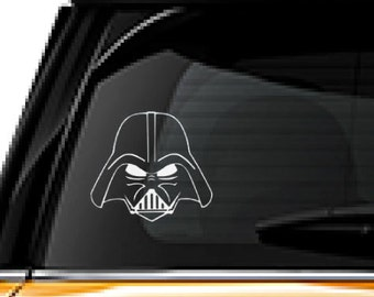 Darth Vader decal FREE SHIPPING, White vinyl decal sticker, Star Wars character, movie decal  #146