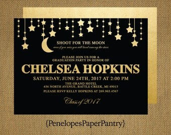 Graduation Invitation and Graduation Announcement, Black and Gold, Moon and Stars, High School or College Grad, Customizable.