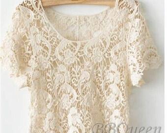 White /Ivory/Black Short Sleeve Lace Top, feminine top, LT02