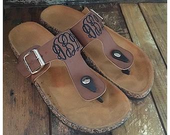 Monogammed womens sandals
