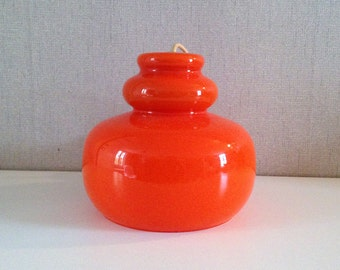 Vintage lampshade - Seventies pendant lamp - orange  hanging lamp