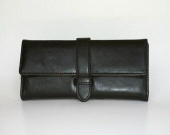 Women's Black Leather Wallet, Women's Black Leather Purse, Leather Wallet, Leather Purse, Black wallet, Black Purse , Womens wallet