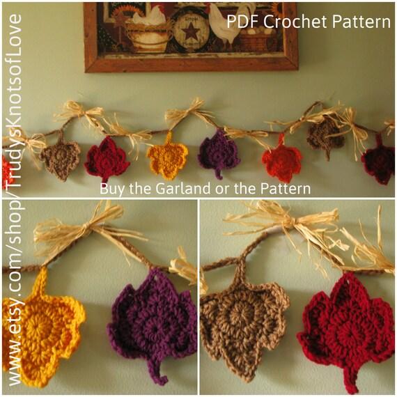 Crochet Fall Leaf Garland PatternMaple Leaf by ...