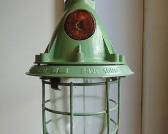 CCCP Industrial Ceiling Explosion Proof Bunker Lights, Steel Grills in Green. Vintage 1970's Salvaged Factory Lights, Rewired & PAT Tested.