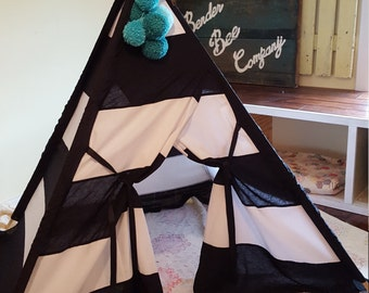 Black and White Striped Children's Teepee Play Tent