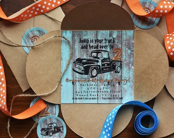 Vintage Truck Party Invitation ~ square design PRINTABLE/truck party