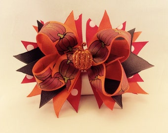 Fall Pumpkin Hair Bow