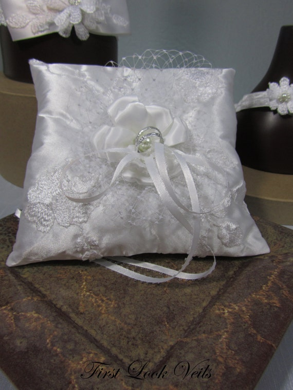 Ring Bearer Pillow, White Satin Pillow, Embroidered Lace Ring Pillow, Ribbon Flower Center, Wedding Accessory, Ring Bearer Boy, Bride Gift