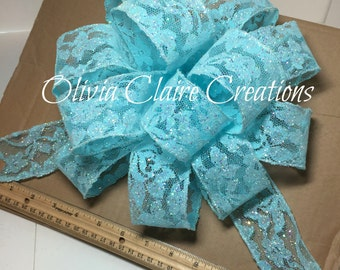 Holiday Bow, Christmas Bow, Gift Bow, Gift Basket, Christmas Tree Bow in Glitter Blue Lace.  Bow for Wreath or other Holiday Decoration.