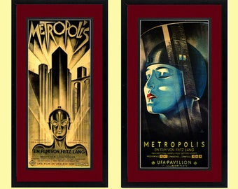 Fritz Lang Metropolis Movie Poster set 2 Framed Prints With Double Mat Finest Quality