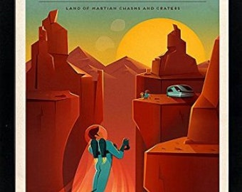 Spacex Mars Poster Vallis Marineris A+ Quality Framed