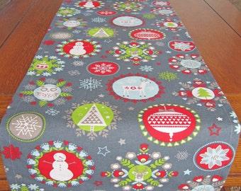 Holiday Table Runner - Christmas Table Runner - Gray, Blue, Red and Green Geometric Table Runner - Christmas Decor - Red and Green Decor