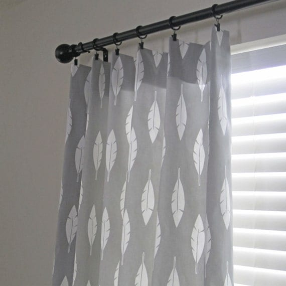 Grey Curtain Panels, Feather Curtain, Gray Curtains, Pair of Curtains ...