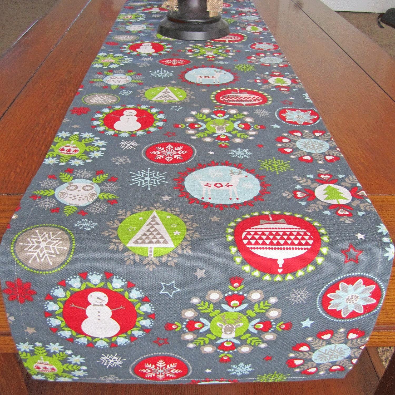 Holiday table runner christmas table runner gray blue for 120 table runner christmas