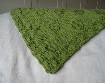 Baby blanket easy knitting pattern chunky polka dots