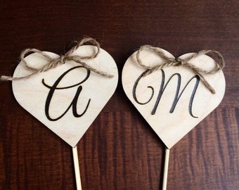 Rustic wedding cake topper decor - wood hearts with initials
