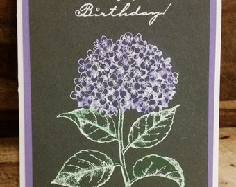 Handmade Purple Hydrangea Birthday Card