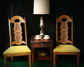 Mid Century Dining Chairs, Hollywood Regency High Back Side Chairs, Vintage Pair Tall Armless Chairs, MCM Cane Back Foyer Entryway Chair Set