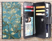 iphone wallet case oil painting folio magnetic detachable leather cover for apple iphone 4 4s 5 5s 5c 6s plus ipod touch oilpainting