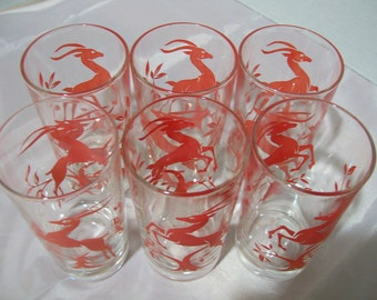 Federal Red Gazelle 6 Tumblers, Mid Century Leaping Gazelle Drinking Glasses, Federal Glass 1950s