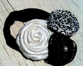 Black and White Rosette Headband