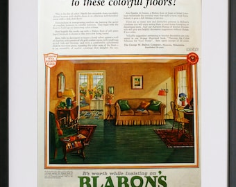 1927 BLABON'S MARBLE original vintage ad 20s retro advertising print home nostalgia
