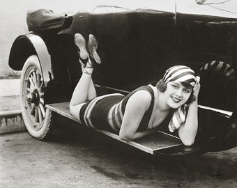 Silent Film Starlet, 1918. Vintage Photo Digital Download. Black & White Photograph. Glamour, Cars, Pinup, Pin Up, 1910s, Historical.