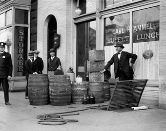Bootleg Liquor Raid, 1923. Vintage Photo Digital Download. Black & White Photograph. Prohibition, Speakeasy, 1920s, 20s, Historical.