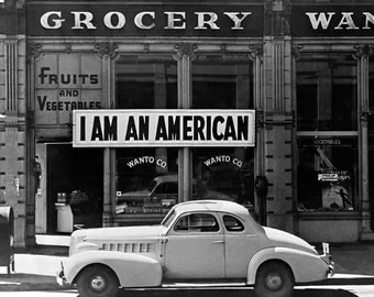 I Am An American, 1942. Vintage Photo Digital Download. Black & White Photograph. World War 2, WWII, California, 1940s, 40s, Historical.
