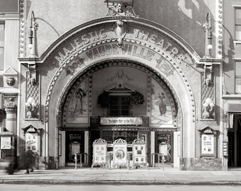 The Majestic Theatre, 1910. Vintage Photo Digital Download. Black & White Photograph. Vaudeville, Movies, Theater, Silent Film, Historical.