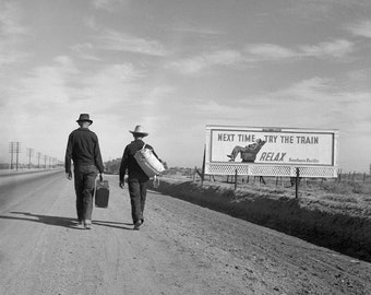 Hitchhiking to Los Angeles, 1937. Vintage Photo Digital Download. Black & White Photograph. Travel, Road Trip, California, 1930s, 30s.
