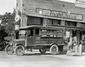 Hardware Store Delivery Truck, 1924. Vintage Photo Digital Download. Black & White Photograph. Vintage Hardware, 1920s, 20s, Historical.