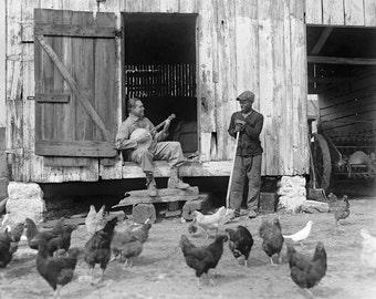 Barnyard Banjo Player, 1927. Vintage Photo Digital Download. Black and White Photograph. Farm, Chickens, Music, Barn, 1920s, Historical.