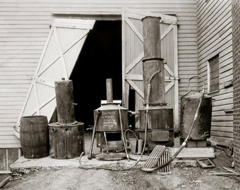 Moonshine Still Seized by Police, 1926. Vintage Photo Digital Download. Black & White Photograph. Prohibition, 1920s, 20s, Historical.