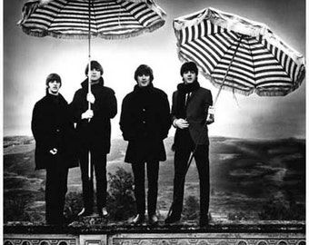 Beatles Umbrellas Portrait Vintage Art Poster