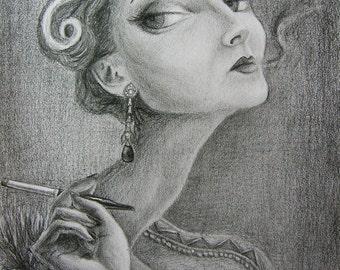 MADAME S  Graphite Drawing on Paper, Pop Surrealism, Portrait, Creepy, Goth, Lowbrow, Big Eyes