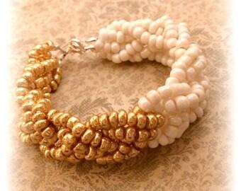 Ombre Bracelet, Gold and White Bracelet, Wedding Bracelet, Ombre White and Gold Bracelet, Handcrafted Bracelet, Classy Boho Bracelet