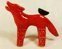 Wolf, wolf sculpture, pottery wolf, ceramic wolf, wolf figurine, wolf art, clay wolf, sculpture, howling wolf,wolves, gifts for wolf lovers