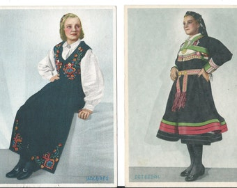 Two Vintage Norwegian Folk Outfit Postcards - Folk Culture