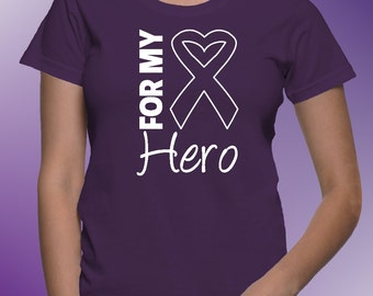 For My Hero Purple Shirts for Pancreatic Cancer Awareness, Lupus Awareness, Alzheimers Disease Awareness and More