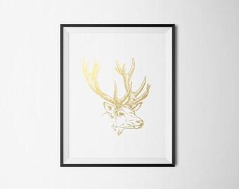 Deer Head Foil Print