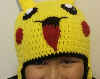 Handmade Crochet Pikachu/Pokemon Hat,Pokemon Ball Hat,Pikachu Hat