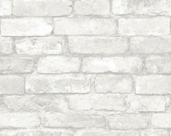 Gray Brick Peel and Stick Wallpaper NU1653 - Sold by the Yard