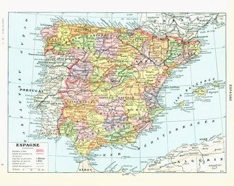 1933 French Antique Map Spain Encyclopedia Larousse Home decor wall art vintage