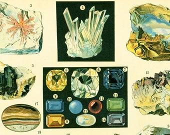 1897 pierres prcieuses diamant rubis opale emeraude amthyste gravure ancienne larousse grand format 115 ans dge - 45 Ans De Mariage Pierre Precieuse