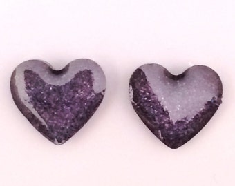 Black Sparkly Heart Earrings