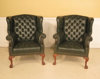 23551E/23552E: Pair Green Leather Tufted Wing Chairs w. Claw Feet