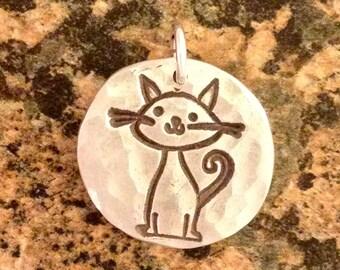 Happy Cat Charm, PMC Fine Silver