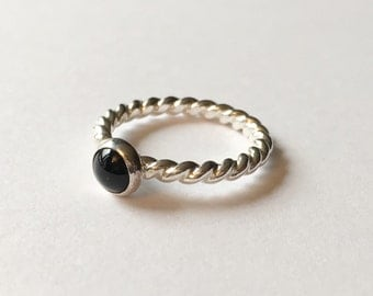 UK Size N Sterling Silver & Black Onyx Twist Band Stack Ring