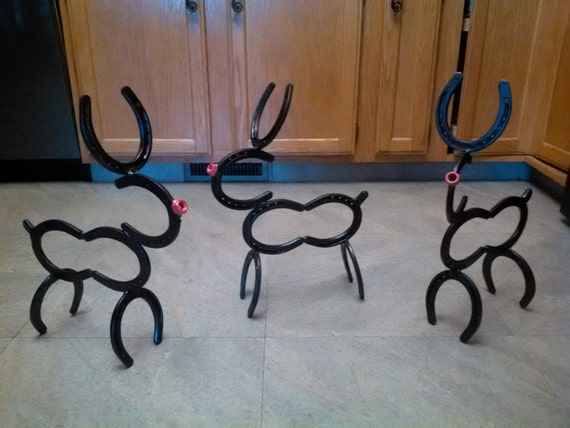 Items similar to horse shoe reindeer on etsy for Christmas tree made out of horseshoes